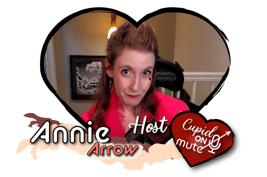 Annie Arrow glancing knowingly wearing bright pink scarf and makeup